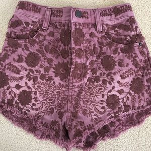 Ultra High Waist Free People Maroon Shorts